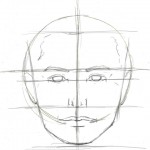 Drawing a face in proportion guidelines