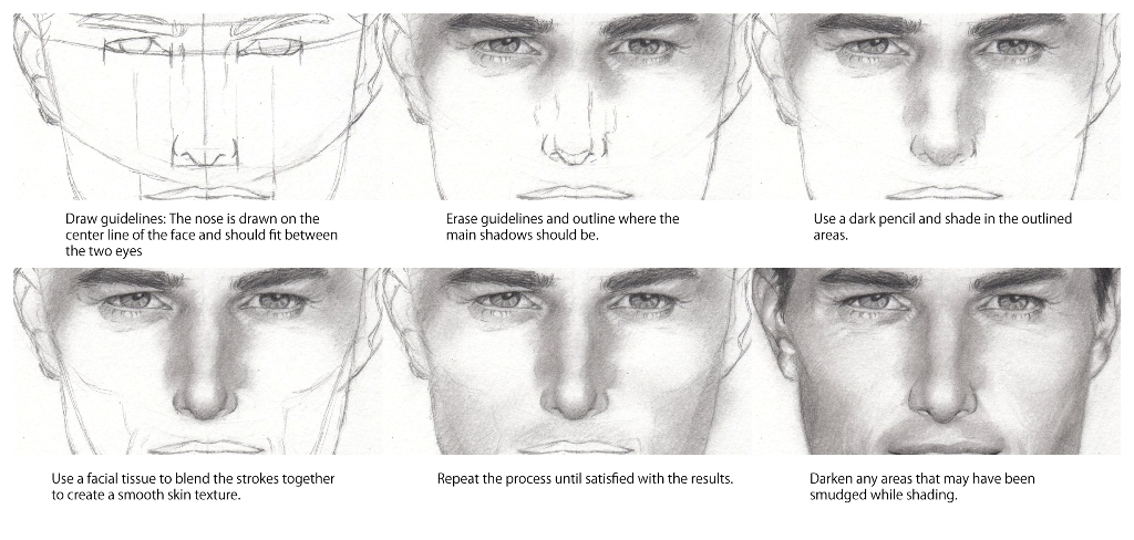 How to draw a nose step by step